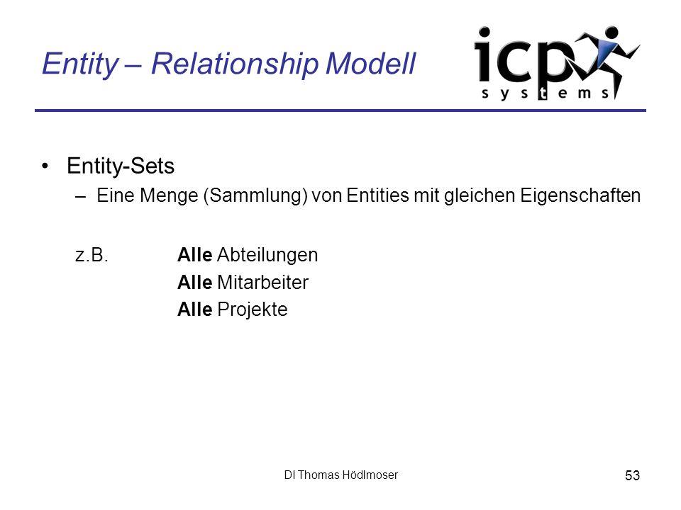 DI Thomas Hödlmoser 53 Entity – Relationship Modell Entity-Sets –Eine Menge (Sammlung) von Entities mit gleichen Eigenschaften z.B. Alle Abteilungen A