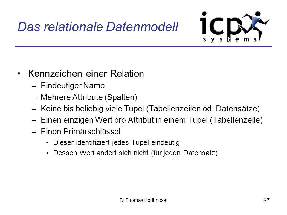 DI Thomas Hödlmoser 67 Das relationale Datenmodell Kennzeichen einer Relation –Eindeutiger Name –Mehrere Attribute (Spalten) –Keine bis beliebig viele