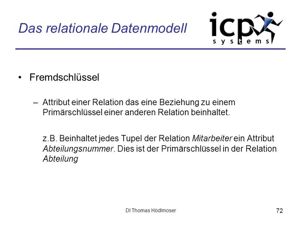 DI Thomas Hödlmoser 72 Das relationale Datenmodell Fremdschlüssel –Attribut einer Relation das eine Beziehung zu einem Primärschlüssel einer anderen R