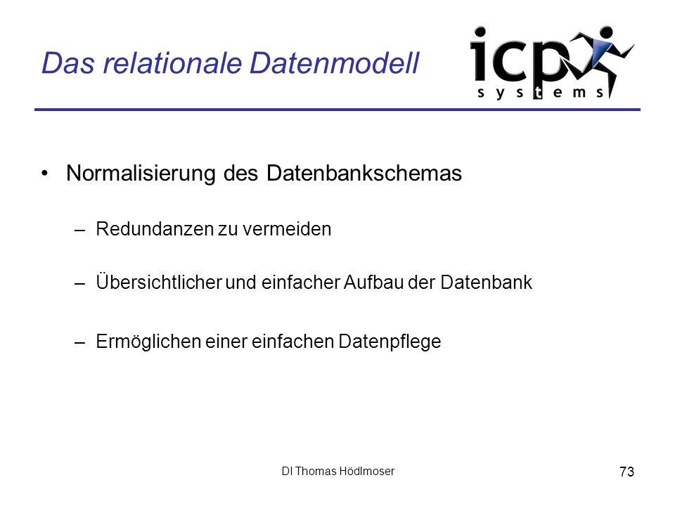 DI Thomas Hödlmoser 73 Das relationale Datenmodell Normalisierung des Datenbankschemas –Redundanzen zu vermeiden –Übersichtlicher und einfacher Aufbau