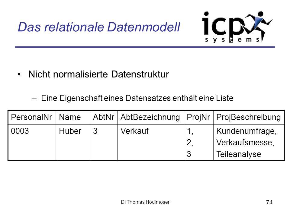 DI Thomas Hödlmoser 74 Das relationale Datenmodell Nicht normalisierte Datenstruktur –Eine Eigenschaft eines Datensatzes enthält eine Liste PersonalNr