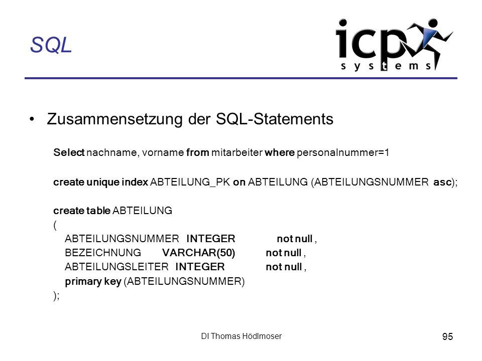 DI Thomas Hödlmoser 95 SQL Zusammensetzung der SQL-Statements Select nachname, vorname from mitarbeiter where personalnummer=1 create unique index ABT