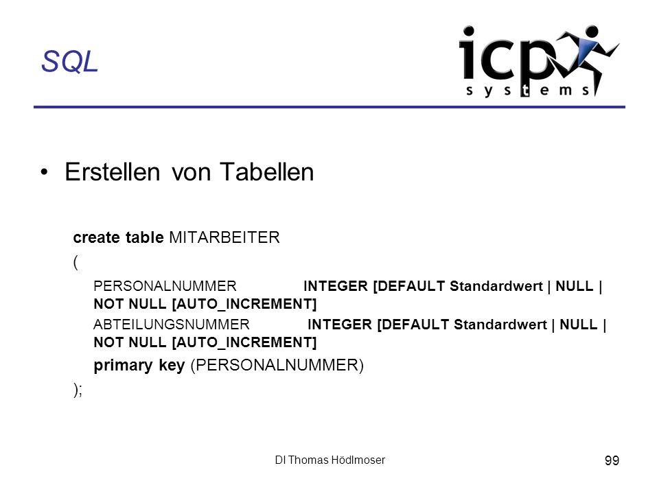 DI Thomas Hödlmoser 99 SQL Erstellen von Tabellen create table MITARBEITER ( PERSONALNUMMER INTEGER [DEFAULT Standardwert | NULL | NOT NULL [AUTO_INCR