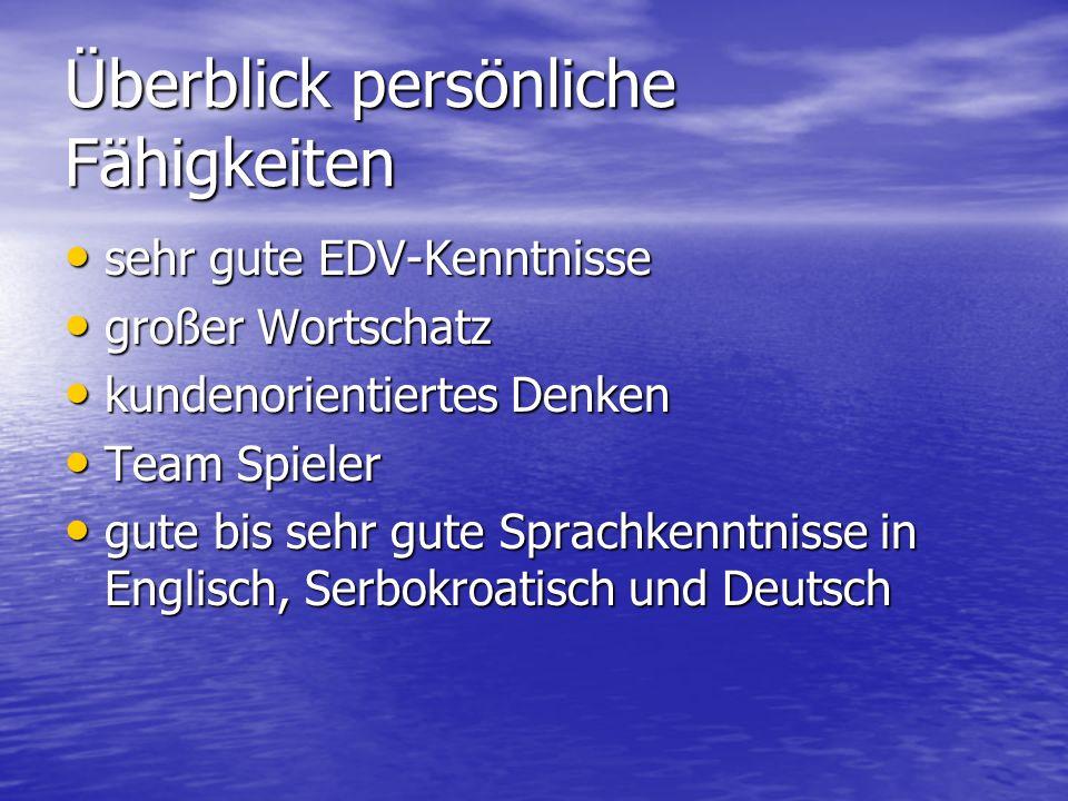 Überblick persönliche Fähigkeiten sehr gute EDV-Kenntnisse großer Wortschatz kundenorientiertes Denken Team Spieler gute bis sehr gute Sprachkenntniss