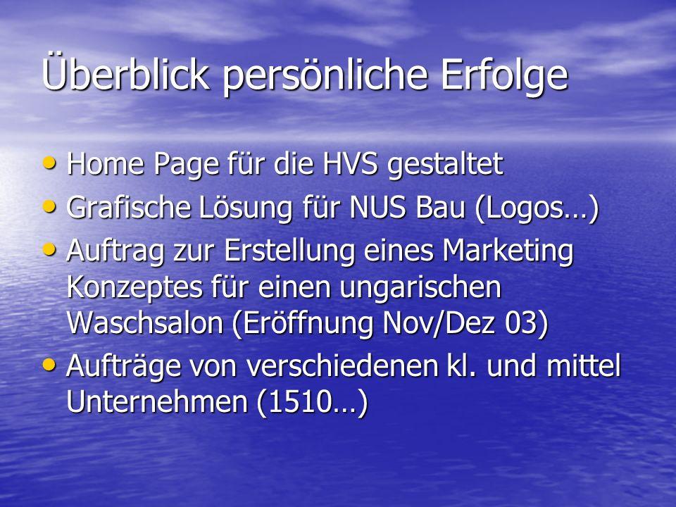 Überblick persönliche Erfolge Home Page für die HVS gestaltet Grafische Lösung für NUS Bau (Logos…) Auftrag zur Erstellung eines Marketing Konzeptes f