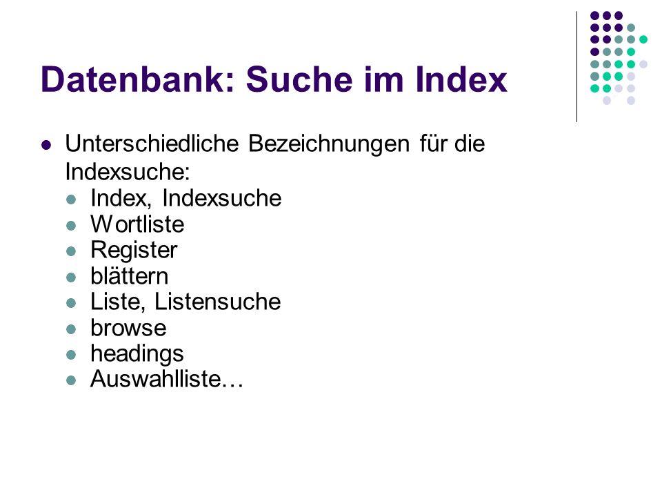 Datenbanken: Index Der Index einer Datenbank ist eine alphabetische Liste aller in diesen Index aufgenommenen Begriffe Der Index einer Datenbank dient