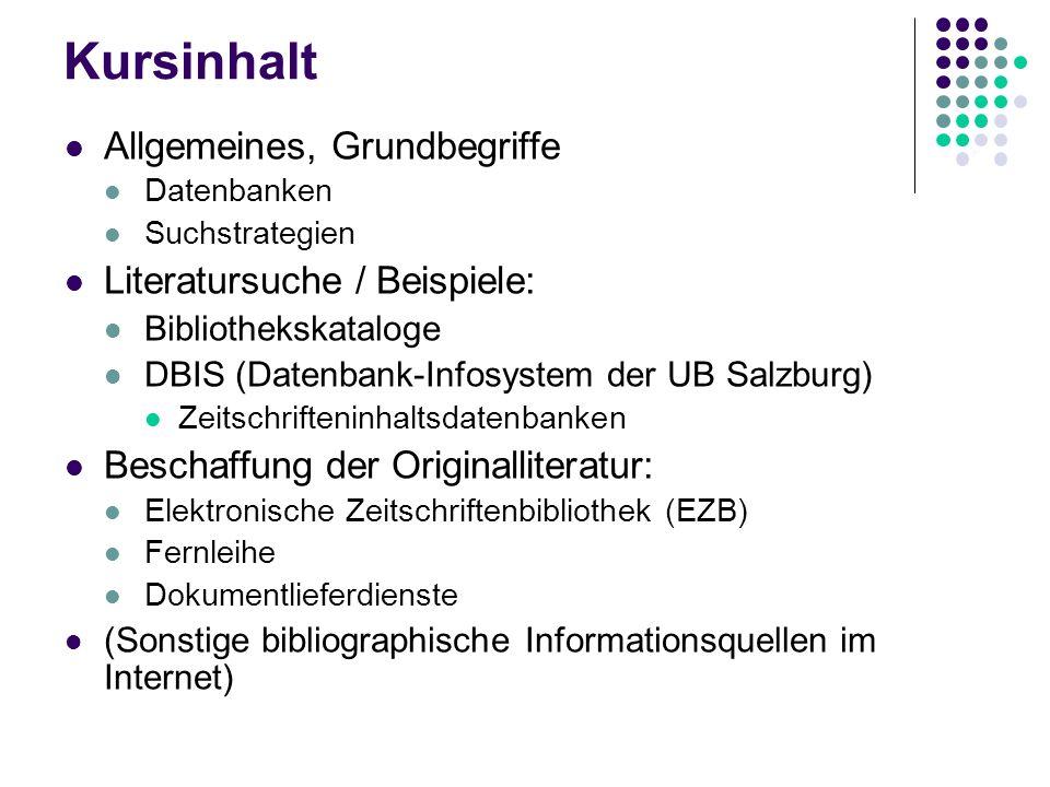 Einführung in die elektronische Literatursuche 20.06.2008 Gabriele Erhart