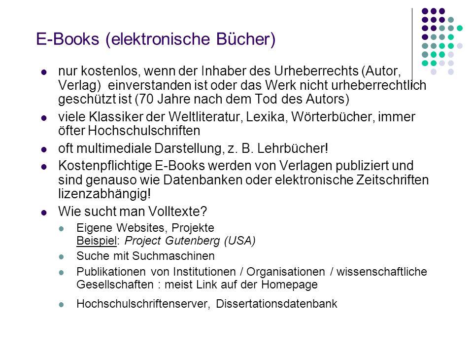 KVK – Karlsruher Virtueller Katalog http://www.ubka.uni-karlsruhe.de/kvk.html kein Bibliothekskatalog, sondern eine Suchmaschine, mit der man gleichze