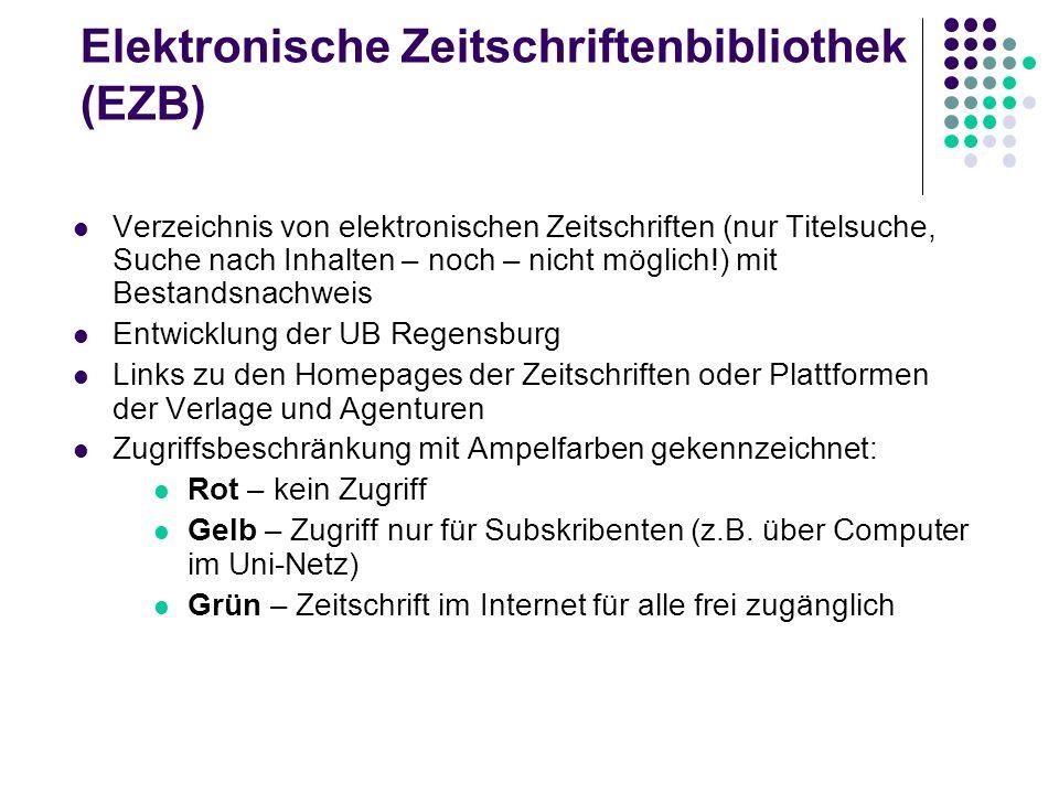 Wege zum Volltext Print-Ausgabe vorhanden? ( Aleph-ZS-Suche) Homepage der Zeitschrift ( EZB) Webseiten (Plattform) des Verlags Suchmöglichkeit im gesa
