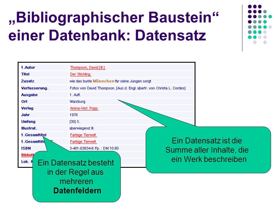 Datenbank (database) Nach Inhalt: Bibliographische Datenbanken Bibliothekskataloge Bibliographien Buchhandelsverzeichnisse Volltext-Datenbanken Vollst