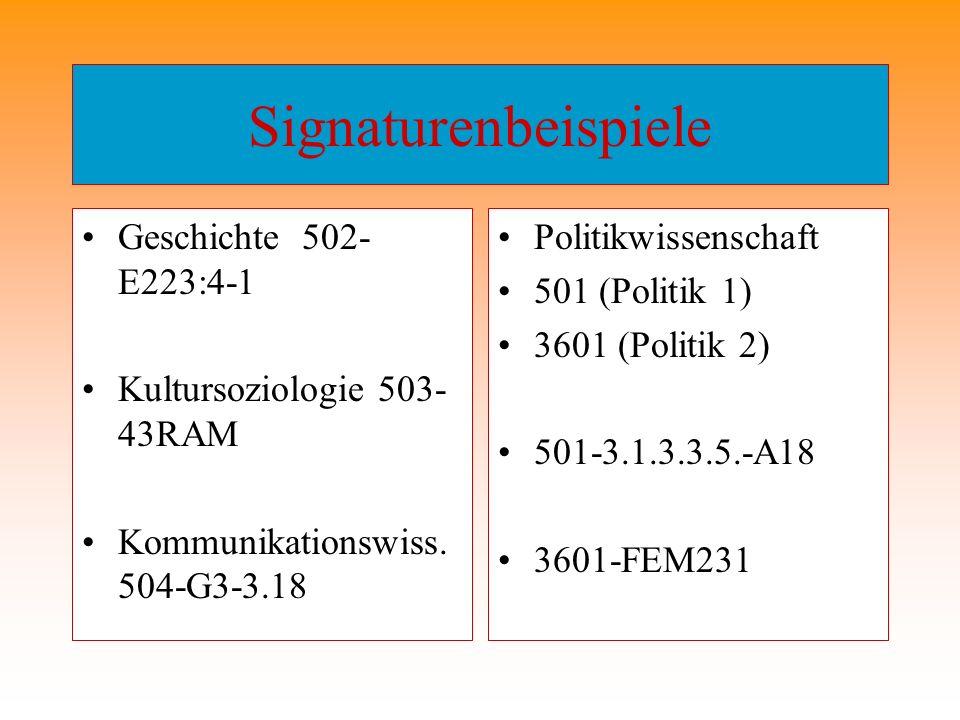 Signaturenbeispiele Geschichte 502- E223:4-1 Kultursoziologie 503- 43RAM Kommunikationswiss. 504-G3-3.18 Politikwissenschaft 501 (Politik 1) 3601 (Pol