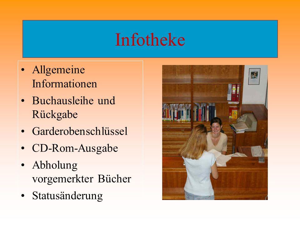 Infotheke Allgemeine Informationen Buchausleihe und Rückgabe Garderobenschlüssel CD-Rom-Ausgabe Abholung vorgemerkter Bücher Statusänderung