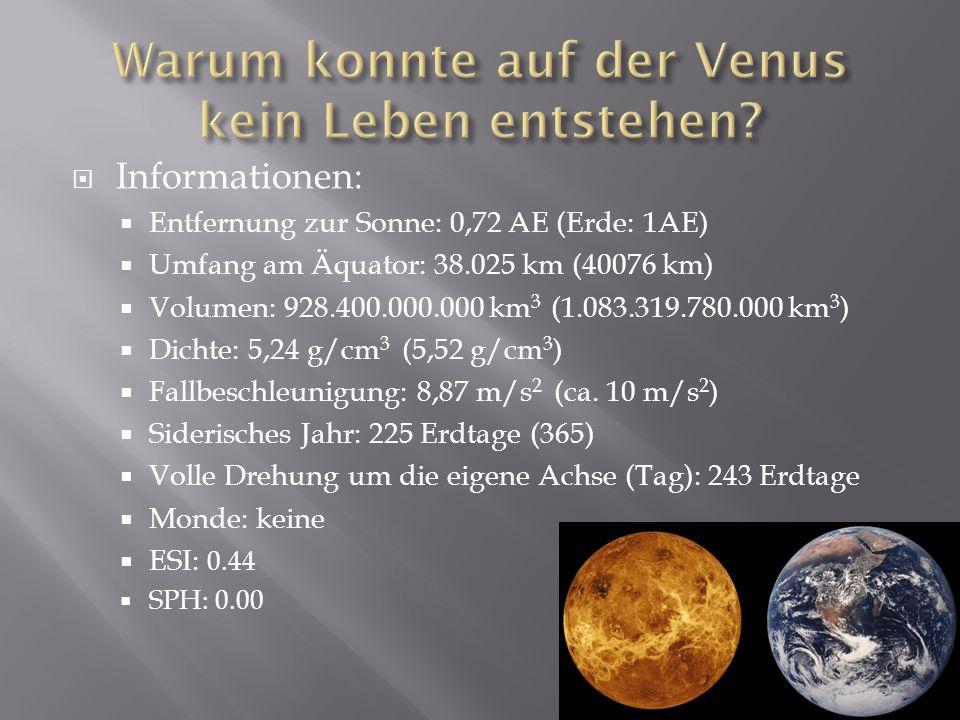 Informationen: Entfernung zur Sonne: 0,72 AE (Erde: 1AE) Umfang am Äquator: 38.025 km (40076 km) Volumen: 928.400.000.000 km 3 (1.083.319.780.000 km 3 ) Dichte: 5,24 g/cm 3 (5,52 g/cm 3 ) Fallbeschleunigung: 8,87 m/s 2 (ca.