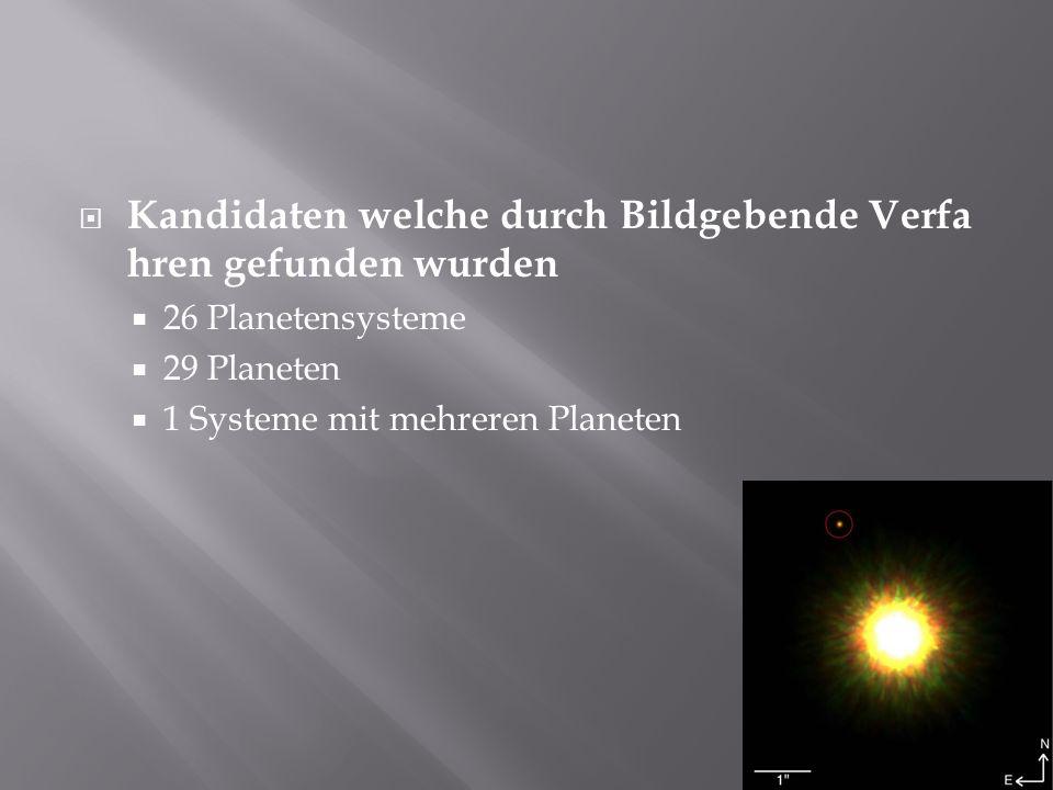 Kandidaten welche durch Bildgebende Verfa hren gefunden wurden 26 Planetensysteme 29 Planeten 1 Systeme mit mehreren Planeten