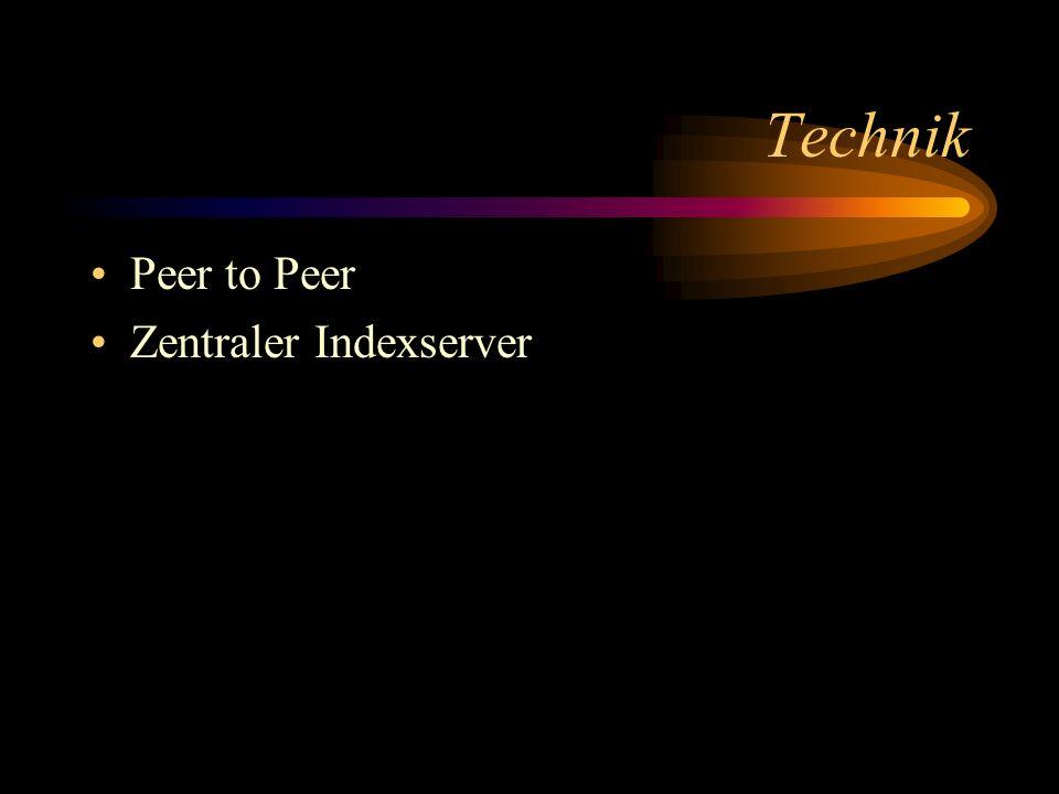 Technik Peer to Peer Zentraler Indexserver