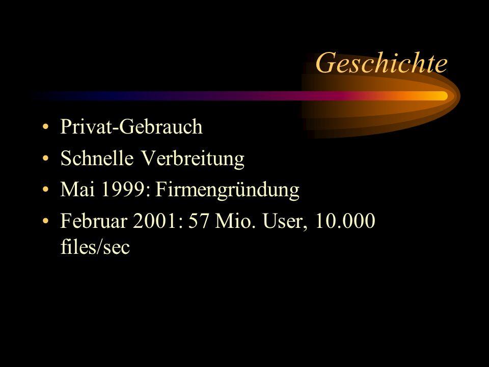 Geschichte Privat-Gebrauch Schnelle Verbreitung Mai 1999: Firmengründung Februar 2001: 57 Mio. User, 10.000 files/sec