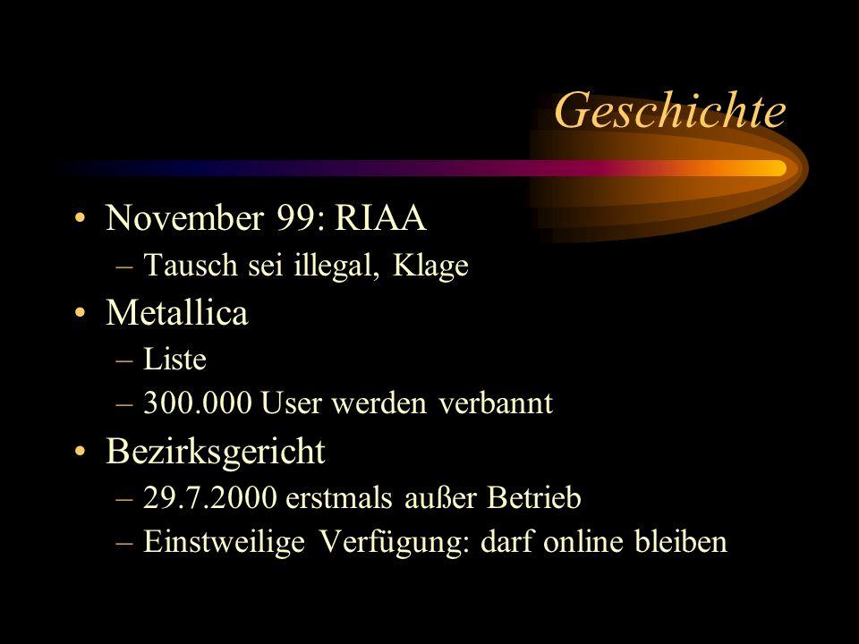 Geschichte November 99: RIAA –Tausch sei illegal, Klage Metallica –Liste –300.000 User werden verbannt Bezirksgericht –29.7.2000 erstmals außer Betrie
