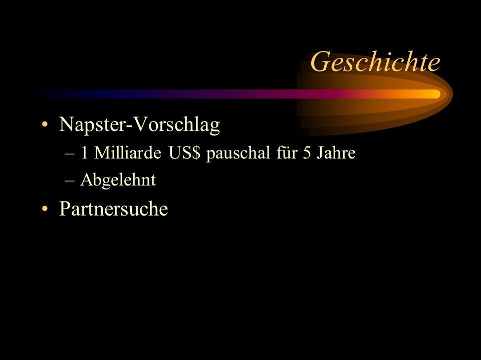 Geschichte Napster-Vorschlag –1 Milliarde US$ pauschal für 5 Jahre –Abgelehnt Partnersuche