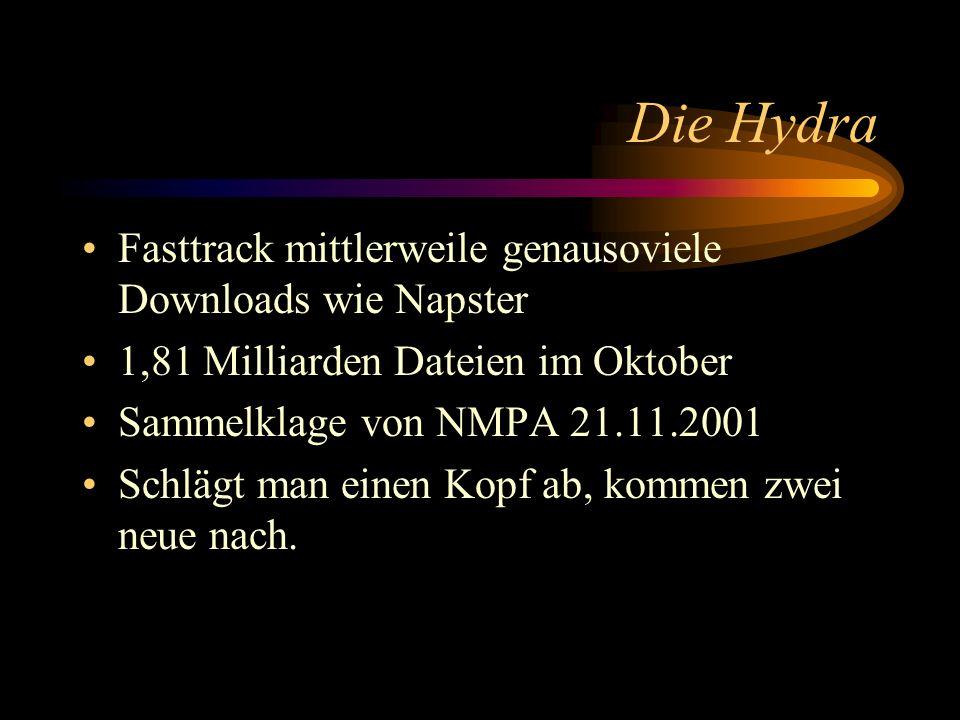Die Hydra Fasttrack mittlerweile genausoviele Downloads wie Napster 1,81 Milliarden Dateien im Oktober Sammelklage von NMPA 21.11.2001 Schlägt man ein