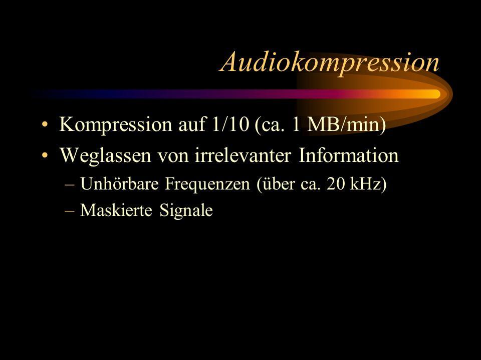 Audiokompression Kompression auf 1/10 (ca. 1 MB/min) Weglassen von irrelevanter Information –Unhörbare Frequenzen (über ca. 20 kHz) –Maskierte Signale