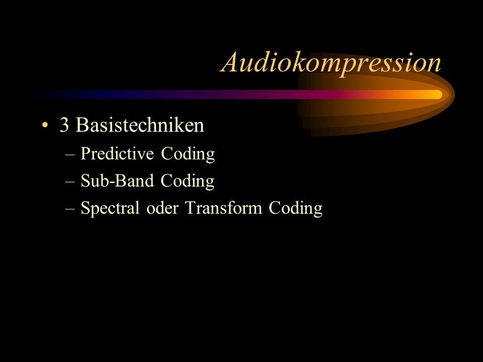 Audiokompression 3 Basistechniken –Predictive Coding –Sub-Band Coding –Spectral oder Transform Coding