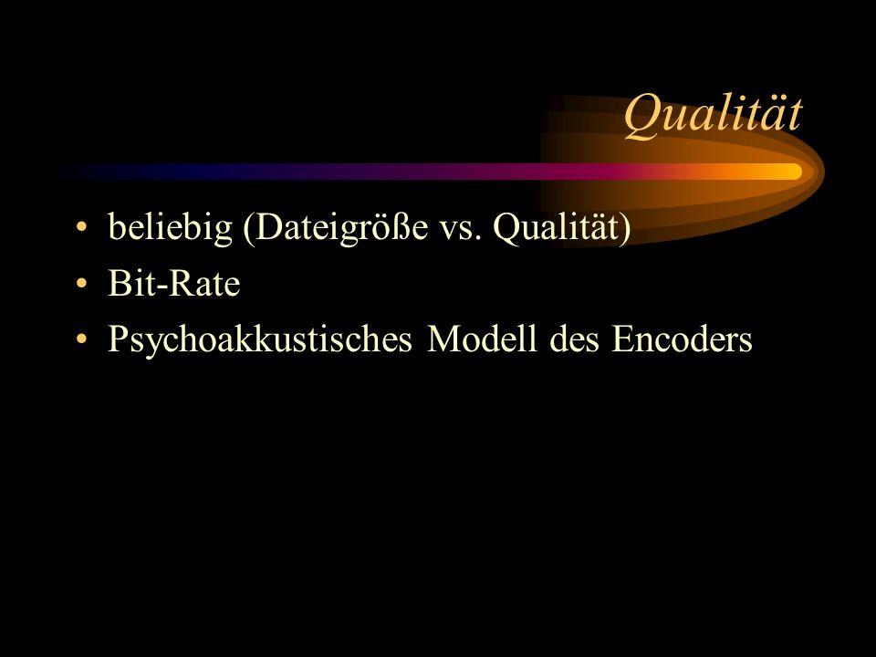 Qualität beliebig (Dateigröße vs. Qualität) Bit-Rate Psychoakkustisches Modell des Encoders