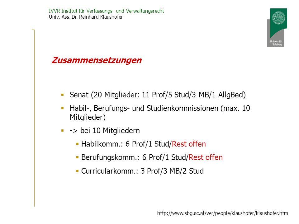 IVVR Institut für Verfassungs- und Verwaltungsrecht Univ.-Ass. Dr. Reinhard Klaushofer http://www.sbg.ac.at/ver/people/klaushofer/klaushofer.htm Zusam