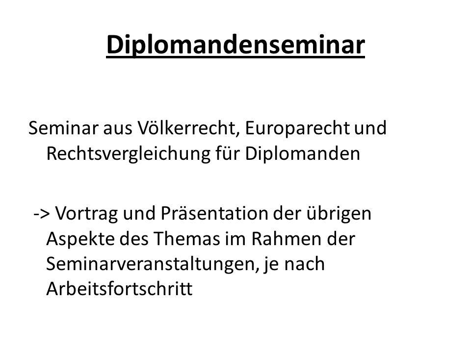 Diplomandenseminar Seminar aus Völkerrecht, Europarecht und Rechtsvergleichung für Diplomanden -> Vortrag und Präsentation der übrigen Aspekte des The
