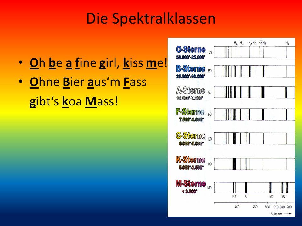 Die Spektralklassen Oh be a fine girl, kiss me! Ohne Bier ausm Fass gibts koa Mass!