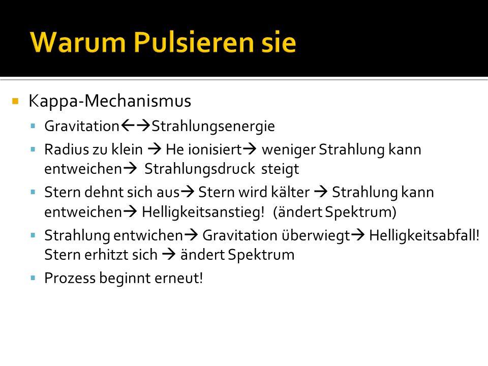 Kappa-Mechanismus Gravitation Strahlungsenergie Radius zu klein He ionisiert weniger Strahlung kann entweichen Strahlungsdruck steigt Stern dehnt sich