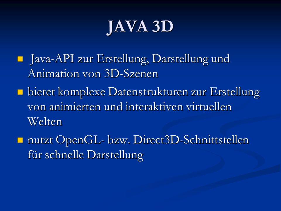 JAVA 3D Java-API zur Erstellung, Darstellung und Animation von 3D-Szenen Java-API zur Erstellung, Darstellung und Animation von 3D-Szenen bietet kompl