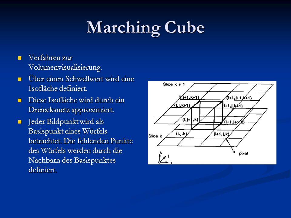 Marching Cube Verfahren zur Volumenvisualisierung. Verfahren zur Volumenvisualisierung. Über einen Schwellwert wird eine Isofläche definiert. Über ein