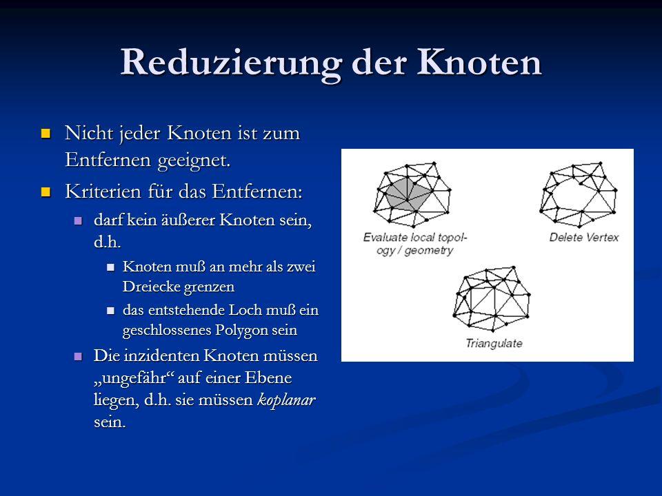 Reduzierung der Knoten Nicht jeder Knoten ist zum Entfernen geeignet. Nicht jeder Knoten ist zum Entfernen geeignet. Kriterien für das Entfernen: Krit