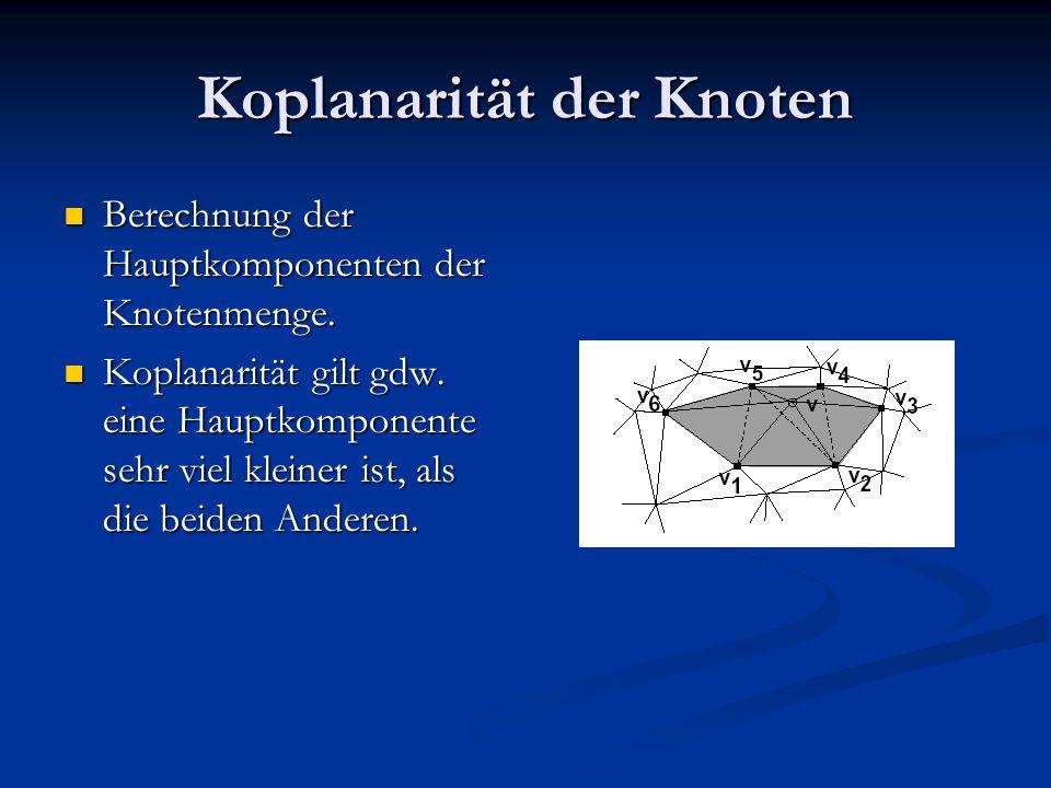 Koplanarität der Knoten Berechnung der Hauptkomponenten der Knotenmenge. Berechnung der Hauptkomponenten der Knotenmenge. Koplanarität gilt gdw. eine