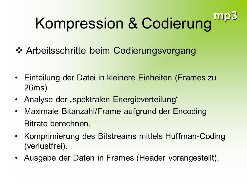 mp3 Kompression & Codierung Einteilung der Datei in kleinere Einheiten (Frames zu 26ms) Analyse der spektralen Energieverteilung Maximale Bitanzahl/Fr