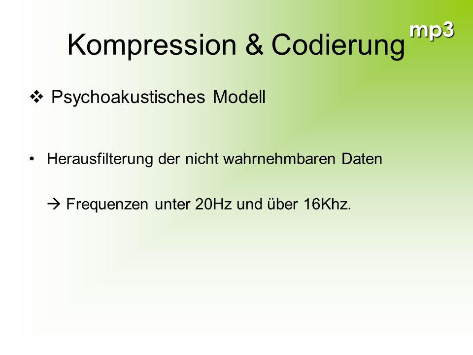 mp3 Kompression & Codierung Psychoakustisches Modell Herausfilterung der nicht wahrnehmbaren Daten Frequenzen unter 20Hz und über 16Khz.