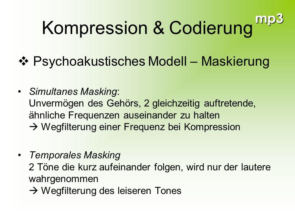 mp3 Kompression & Codierung Psychoakustisches Modell – Maskierung Simultanes Masking: Unvermögen des Gehörs, 2 gleichzeitig auftretende, ähnliche Freq