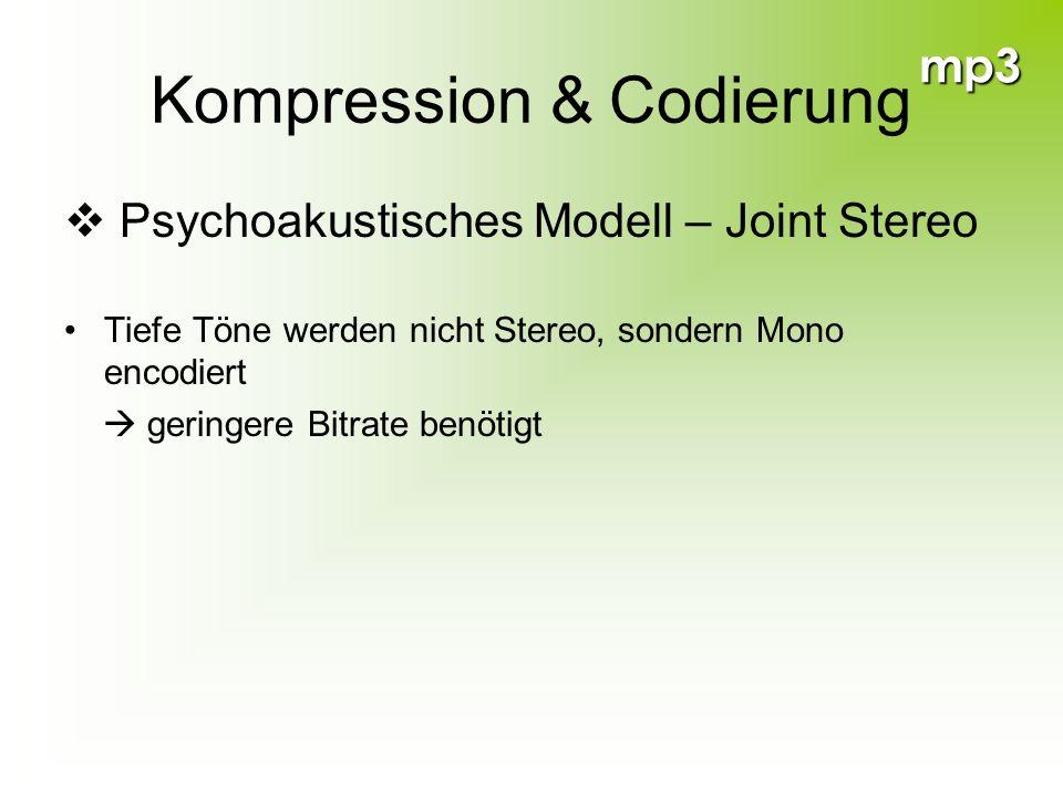 mp3 Kompression & Codierung Psychoakustisches Modell – Joint Stereo Tiefe Töne werden nicht Stereo, sondern Mono encodiert geringere Bitrate benötigt