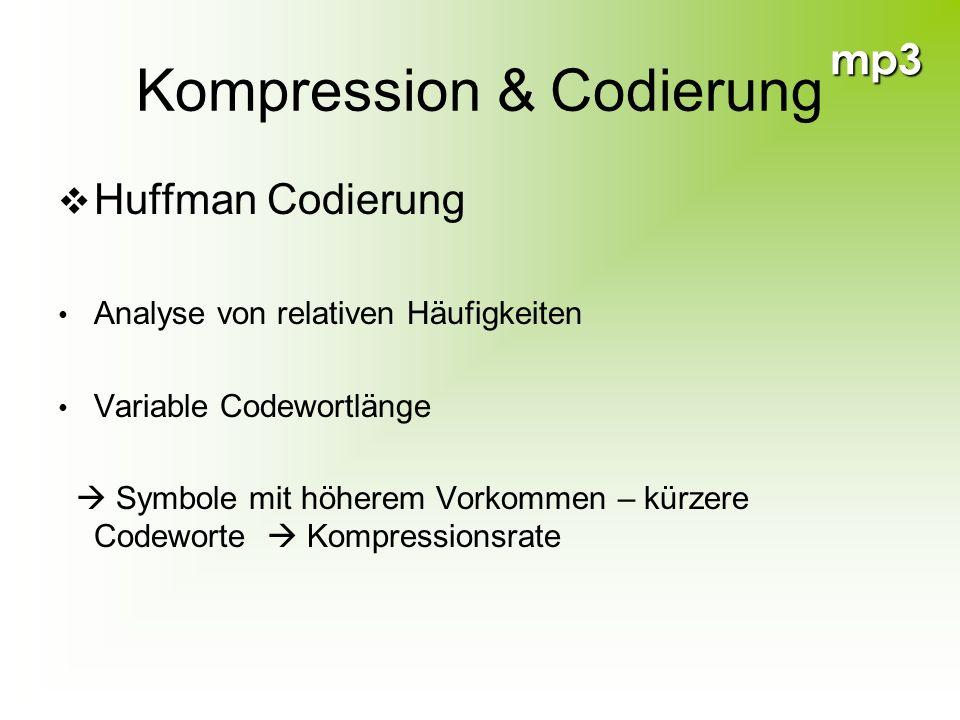 mp3 Kompression & Codierung Huffman Codierung Analyse von relativen Häufigkeiten Variable Codewortlänge Symbole mit höherem Vorkommen – kürzere Codewo
