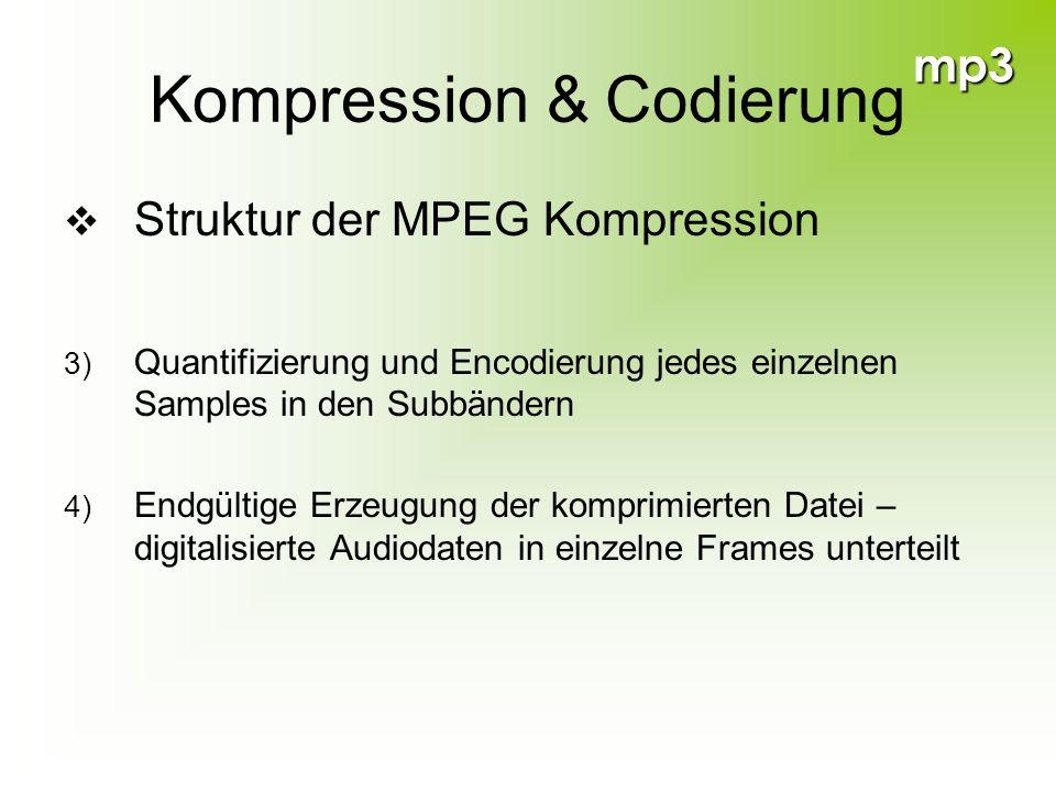 mp3 Kompression & Codierung Struktur der MPEG Kompression 3) Quantifizierung und Encodierung jedes einzelnen Samples in den Subbändern 4) Endgültige E