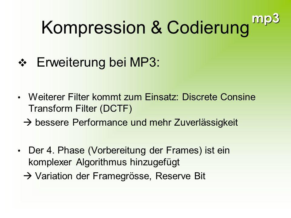 mp3 Kompression & Codierung Erweiterung bei MP3: Weiterer Filter kommt zum Einsatz: Discrete Consine Transform Filter (DCTF) bessere Performance und m