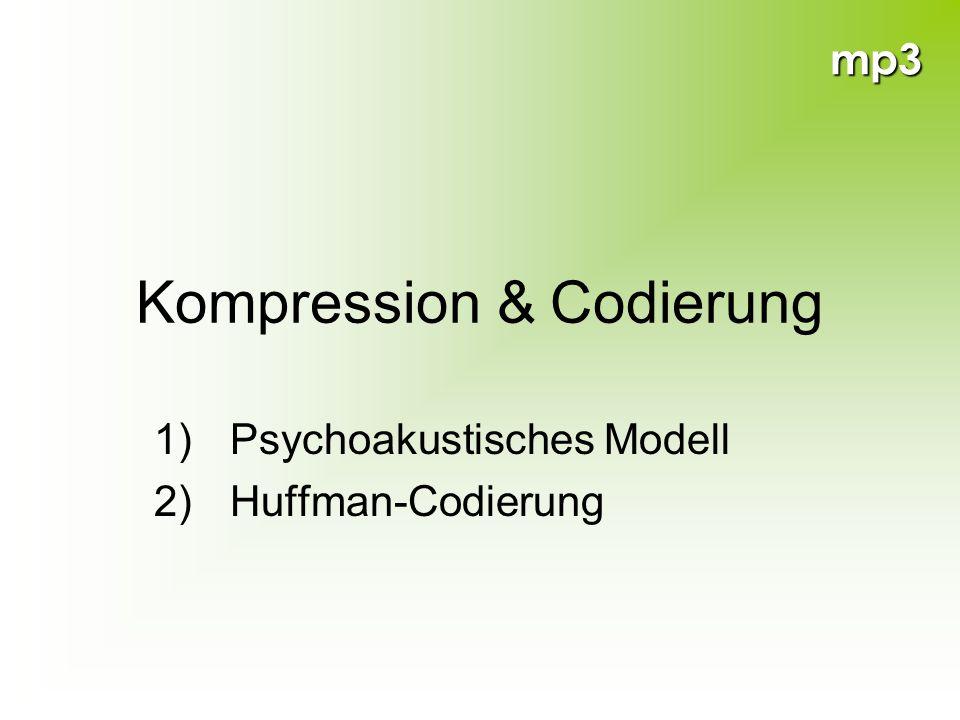 mp3 Kompression & Codierung 1) Psychoakustisches Modell 2) Huffman-Codierung