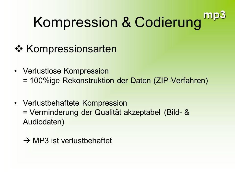 mp3 Kompression & Codierung Kompressionsarten Verlustlose Kompression = 100%ige Rekonstruktion der Daten (ZIP-Verfahren) Verlustbehaftete Kompression