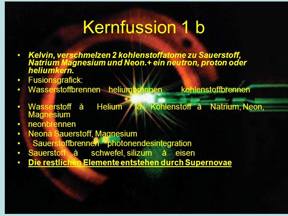 Kernfussion 1 b Kelvin, verschmelzen 2 kohlenstoffatome zu Sauerstoff, Natrium Magnesium und Neon.+ ein neutron, proton oder heliumkern. Fusionsgrafic