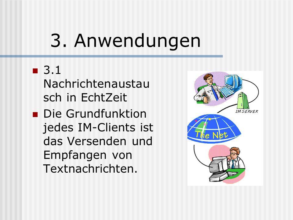 2.4 Geschichte Der ICQ-Messenger bietet als erster neben den Chat-Möglichkeiten die Verwaltung von Kontakten an, die sich automatisch ihrem Status anpassen sobald sie mit dem Server verbunden sind.