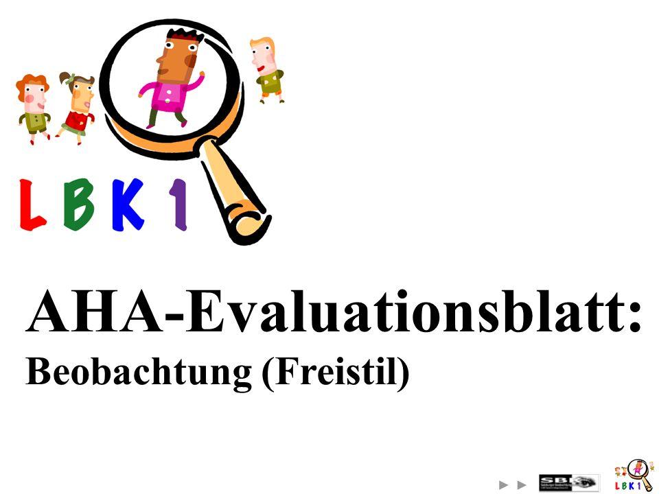 AHA-Evaluationsblatt: Beobachtung (Freistil)