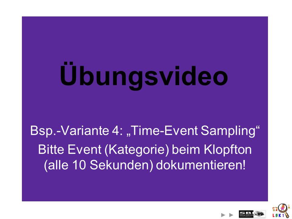 Übungsvideo Bsp.-Variante 4: Time-Event Sampling Bitte Event (Kategorie) beim Klopfton (alle 10 Sekunden) dokumentieren!
