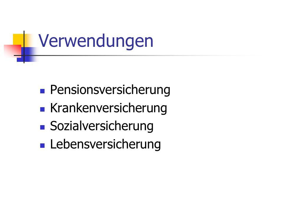 Verwendungen Pensionsversicherung Krankenversicherung Sozialversicherung Lebensversicherung
