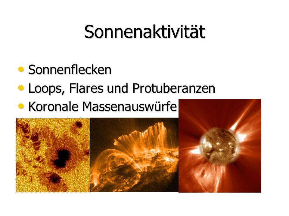 Sonnenaktivität Sonnenflecken Sonnenflecken Loops, Flares und Protuberanzen Loops, Flares und Protuberanzen Koronale Massenauswürfe Koronale Massenauswürfe