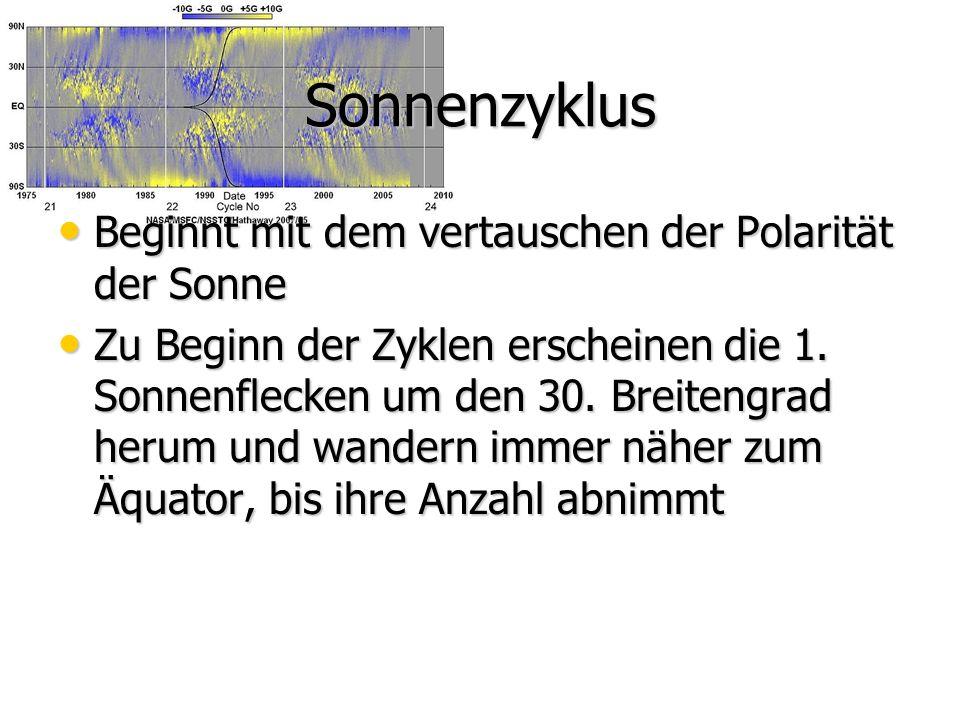 Sonnenzyklus Beginnt mit dem vertauschen der Polarität der Sonne Beginnt mit dem vertauschen der Polarität der Sonne Zu Beginn der Zyklen erscheinen die 1.